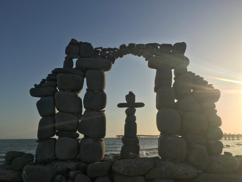 Rock cross at sunrise