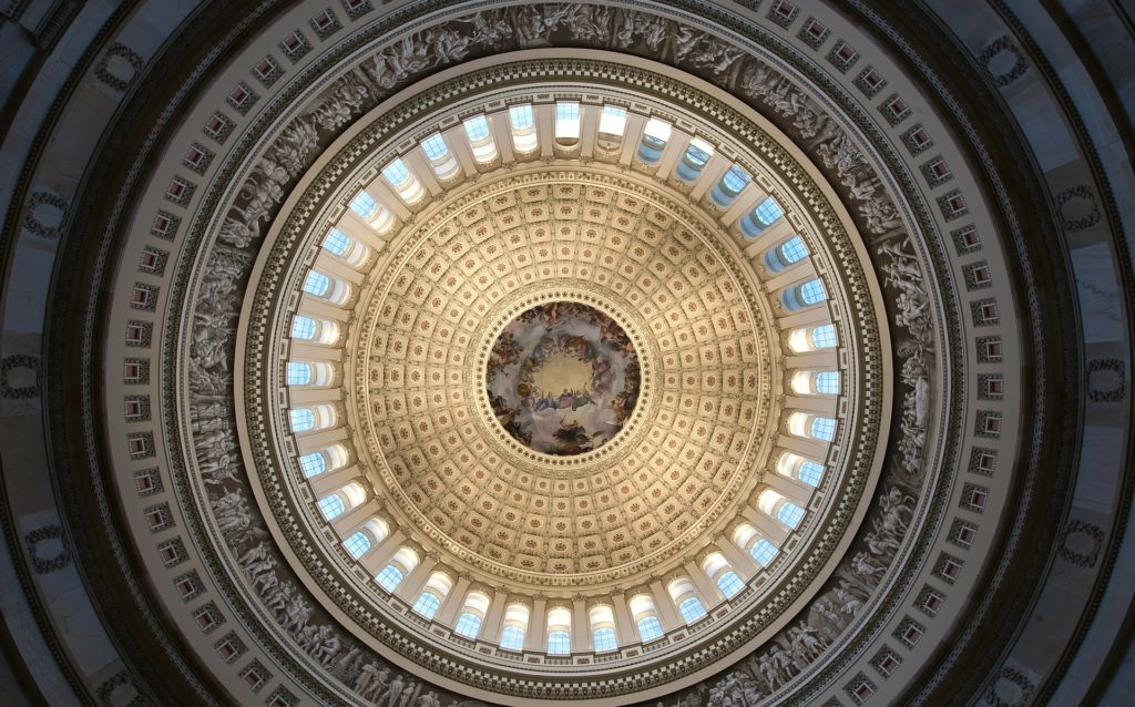 Interior of the dome of the US. Capitol Building