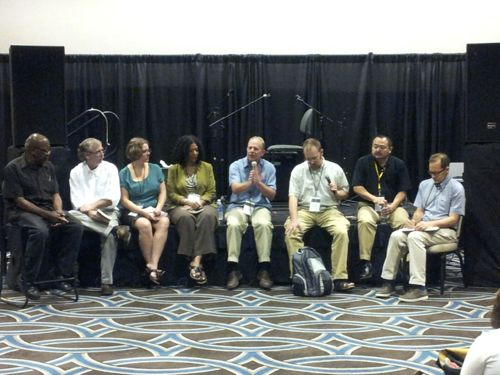(L. to R.) John Perkins, Ted Ownby, Kelly Figueroa-Ray, Lisa Sharon Harper, Michael Andres, Peter Slade, Soong-Chan Rah, Charles Marsh