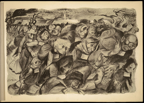 Lithograph by Leo Haas, Holocaust artist who survived Theresienstadt and Auschwitz (public domain)