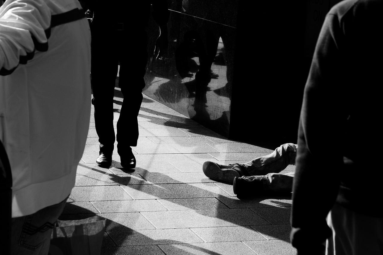 Feet on city street