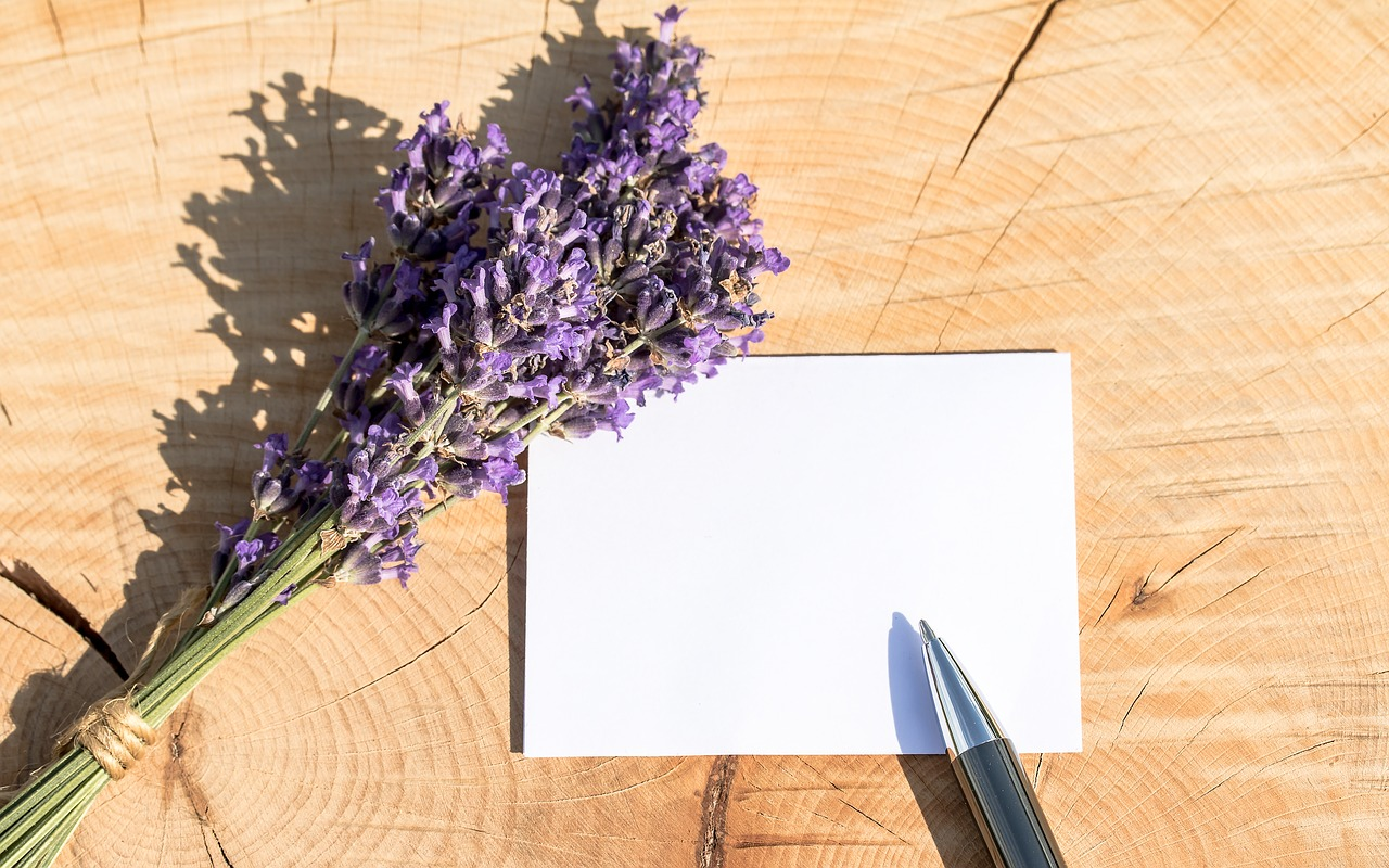Greeting card with lavender
