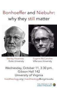 Bonhoeffer and Niebuhr event, Stanley Hauerwas, Eugene McCarraher
